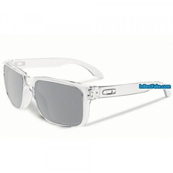 fe5e739d7b Oakley Holbrook Sunglasses Polished Clear   Chrome Iridium Polarized ...