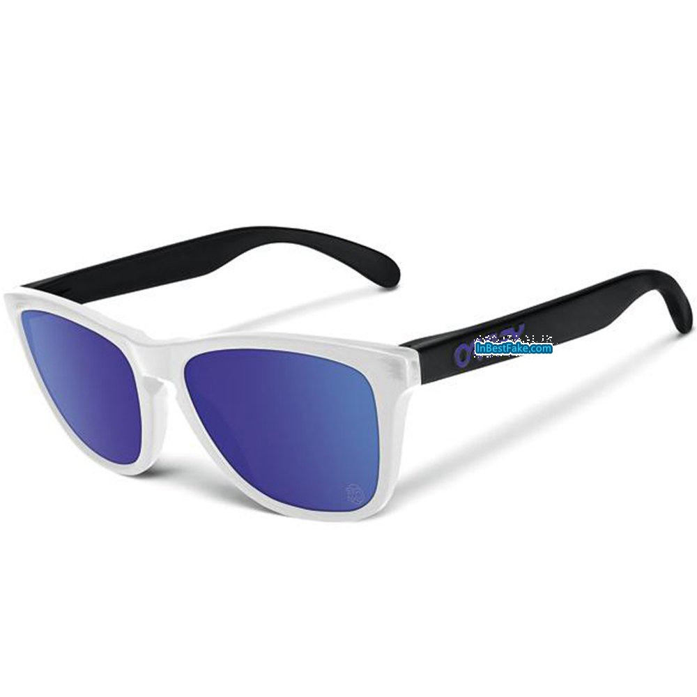 b78454f7203 Oakley Frogskins Sunglasses Matte Clear   Violet Iridium Lens - Fake Oakley  sunglasses